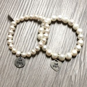 Helzberg Pearl Bracelet Duo with I Am Loved Charms